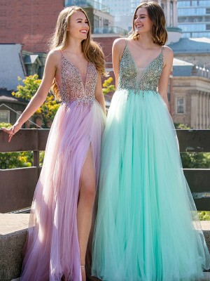 A-Line V-neck Floor-Length Lilac Beading Tulle Prom Dresses