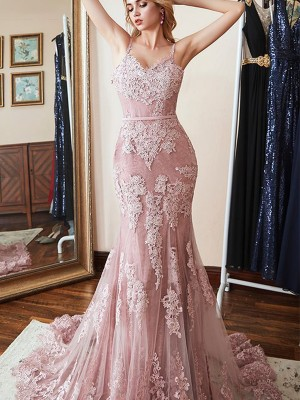 Pink Mermaid Spaghetti Straps Brush Train Applique Lace Evening Dresses