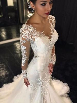 Mermaid Long Sleeves V-neck Court Train Ivory Wedding Dresses