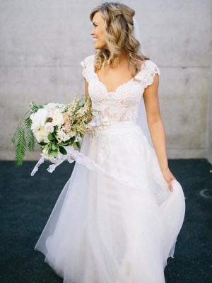 A-Line V-neck Floor-Length White Wedding Dresses