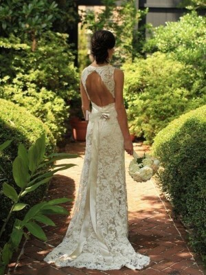 Sheath Lace V-neck Brush Train Wedding Dresses