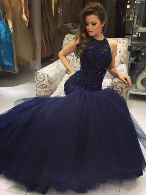 Mermaid Jewel Floor-Length Dark Navy Prom Dresses