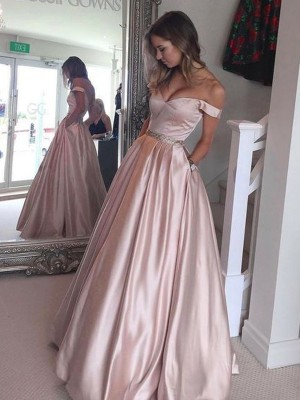 A-Line Off-the-Shoulder Floor-Length Pink Prom Dresses