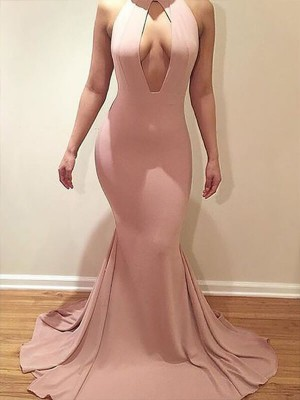 Mermaid Jersey Scoop Brush Train Prom Dresses with Ruffles
