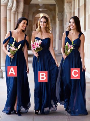 A-Line Floor-Length Royal Blue Bridesmaid Dresses
