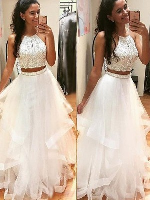 A-Line Halter Floor-Length White Prom Dresses