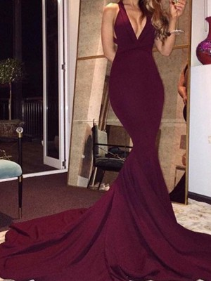 Burgundy Mermaid V-neck Brush Train Prom Dresses