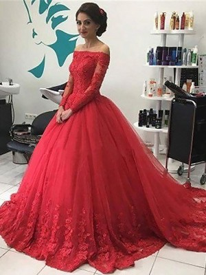 Tulle Long Sleeves Off-the-Shoulder Court Train Red Prom Dresses
