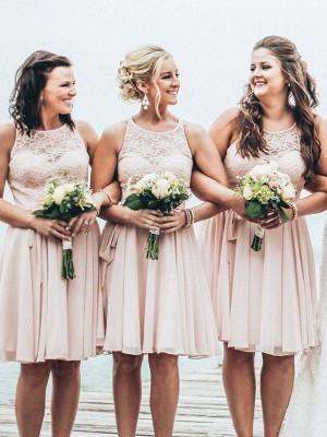 A-Line Chiffon Scoop Short/Mini Bridesmaid Dresses