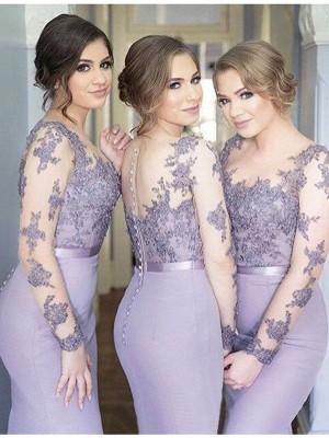 Mermaid Scoop Floor-Length Lilac Bridesmaid Dresses