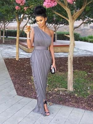 Grey One-Shoulder Jersey Floor-Length Bridesmaid Dresses
