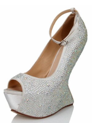 Wedge Heel Silk Peep Toe With Rhinestone Platform Wedges Shoes
