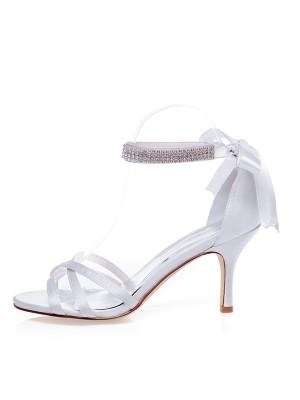 Satin Peep Toe Stiletto Heel Silk Wedding Shoes