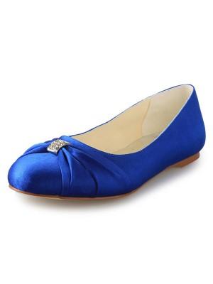 Flat Heel Closed Toe Satin With Rhinestone Flat Shoes