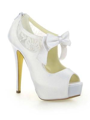 Satin Lace Platform Peep Toe With Bowknot Stiletto Heel White Wedding Shoes