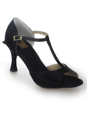 Satin Stiletto Heel Peep Toe Buckle Dance Shoes