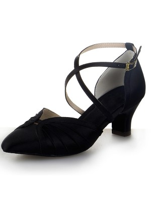 Closed Toe Satin Chunky Heel Buckle Dance Shoes