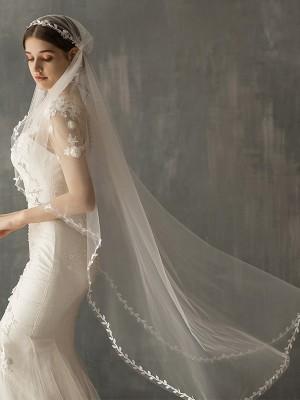 Delicate Tulle One-Tier Waltz Bridal Veils