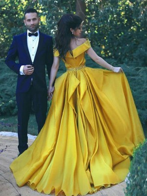 A-Line Yellow Off-the-Shoulder Sleeveless Brush Train Beading Satin Chiffon Prom Dresses