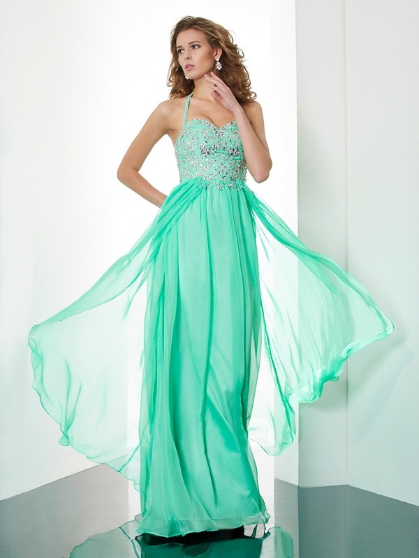 A-Line Chiffon Halter Brush Train Prom Dresses with Beading