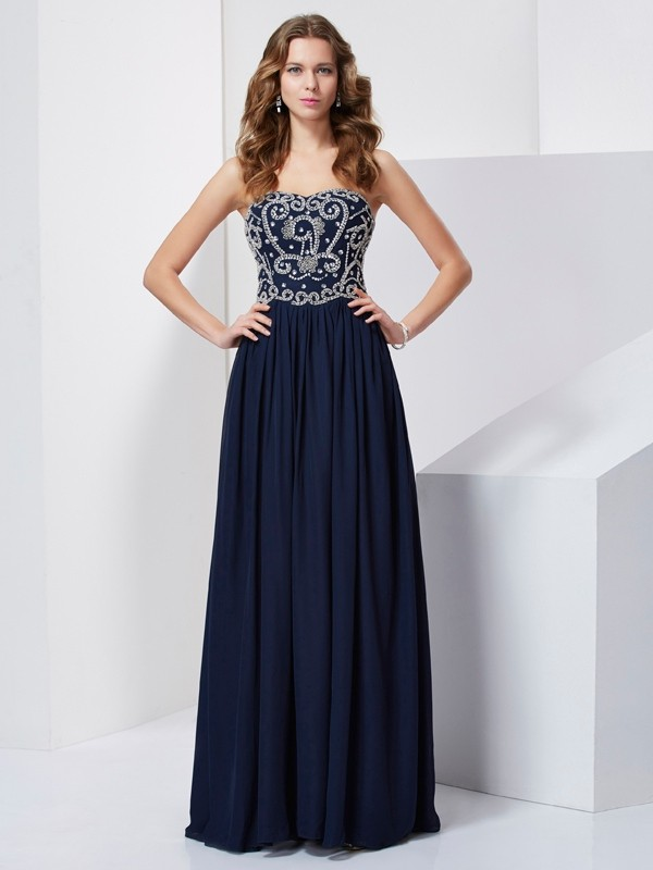 Dark Navy A-Line Strapless Floor-Length Prom Dresses with Beading