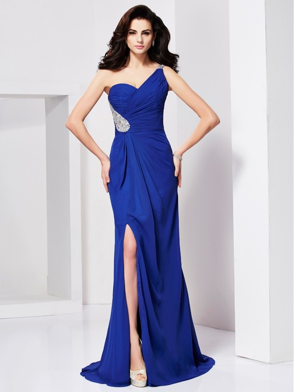 A-Line Chiffon One-Shoulder Brush Train Royal Blue Prom Dresses