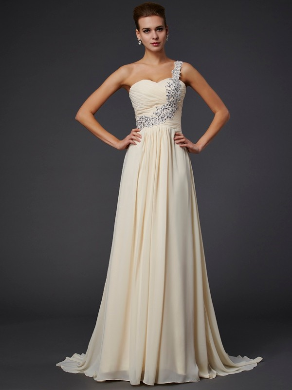A-Line One-Shoulder Floor-Length Daffodil Prom Dresses with Beading