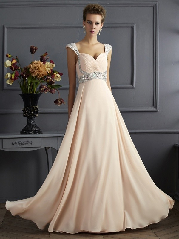 Straps Floor-Length Champagne Prom Dresses with Beading