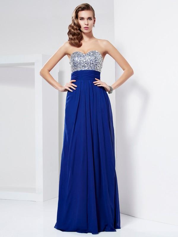 Sheath Sweetheart Long Royal Blue Prom Dresses with Rhinestone