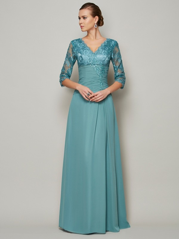 3/4 Sleeves V-neck Long Other Mother of the Bride Dresses with Lace