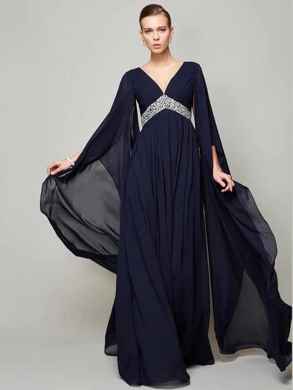 Chiffon Long Sleeves V-neck Floor-Length Dark Navy Prom Dresses
