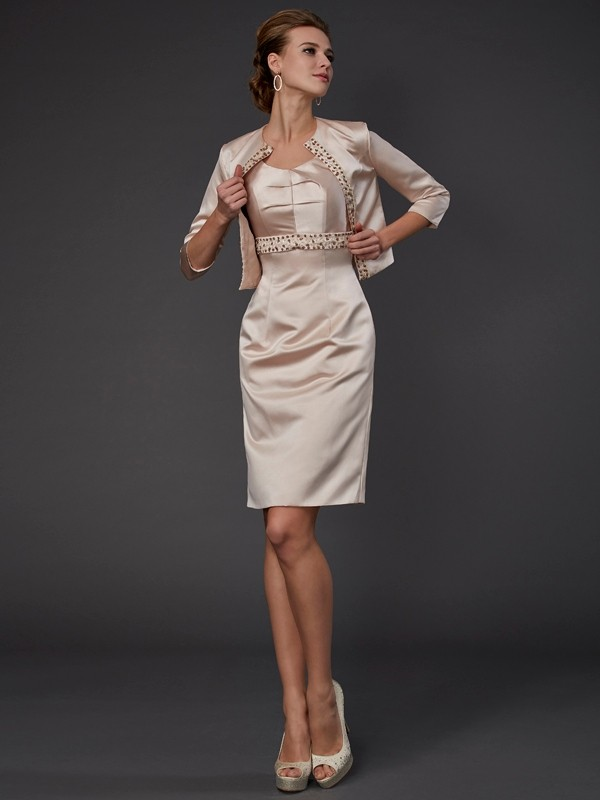 Champagne Square Knee-Length Mother of the Bride Dresses with Beading