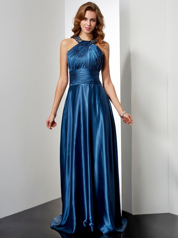 Elastic Woven Satin Halter Floor-Length Royal Blue Prom Dresses