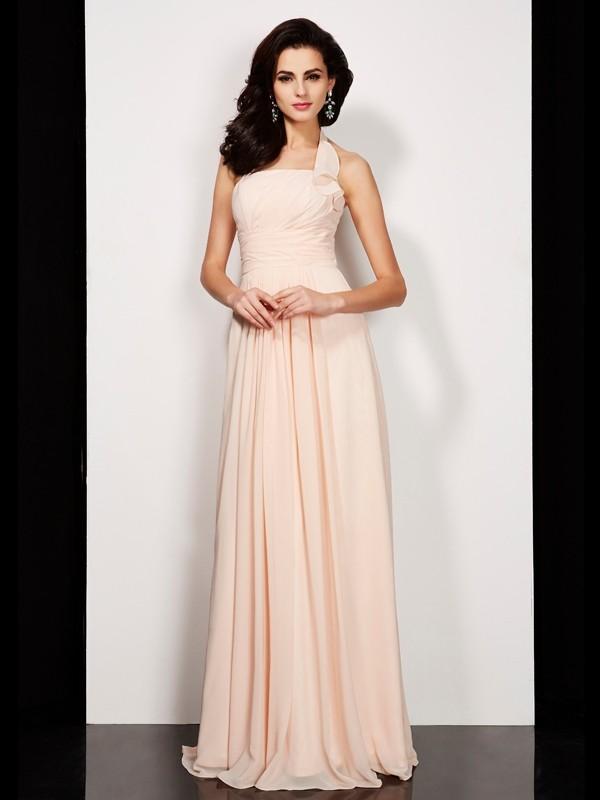 A-Line Halter Floor-Length Pearl Pink Prom Dresses