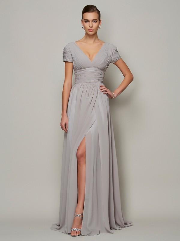 A-Line V-neck Floor-Length Grey Prom Dresses