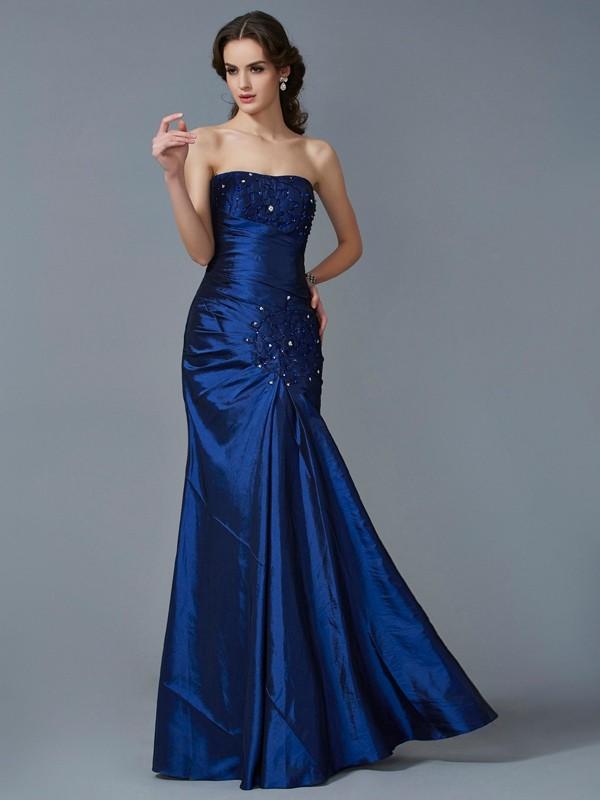 Taffeta Strapless Floor-Length Royal Blue Prom Dresses