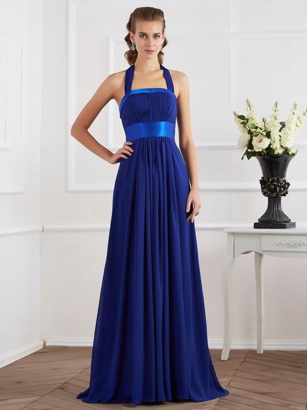 A-Line Halter Floor-Length Royal Blue Prom Dresses