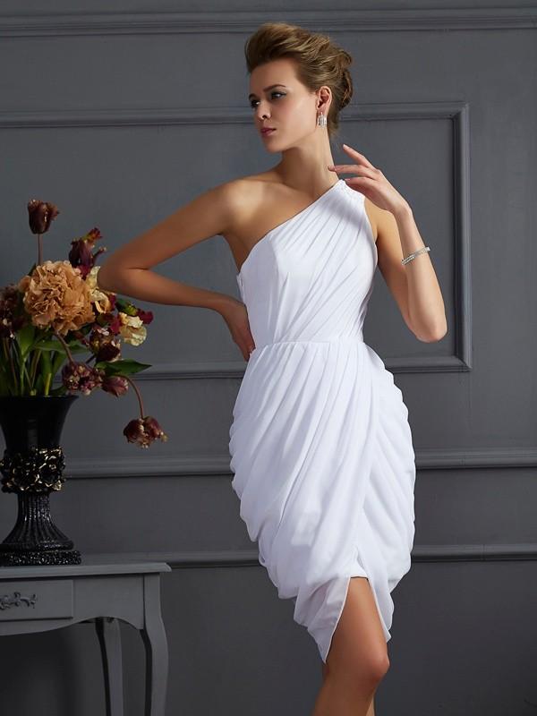 Sheath One-Shoulder Short/Mini White Homecoming Dresses