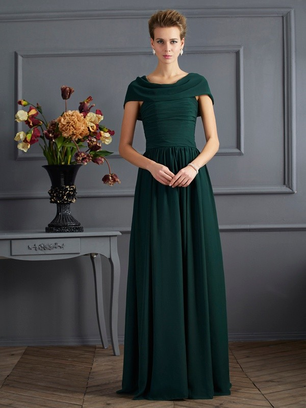 A-Line Chiffon Short Sleeves Scoop Long Hunter Green Mother of the Bride Dresses