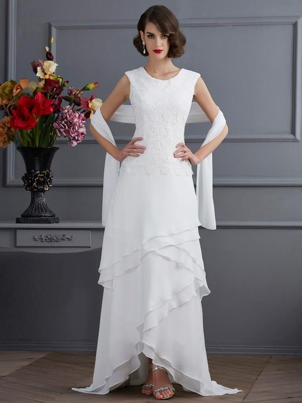 Ivory Bateau Chiffon Asymmetrical Prom Dresses