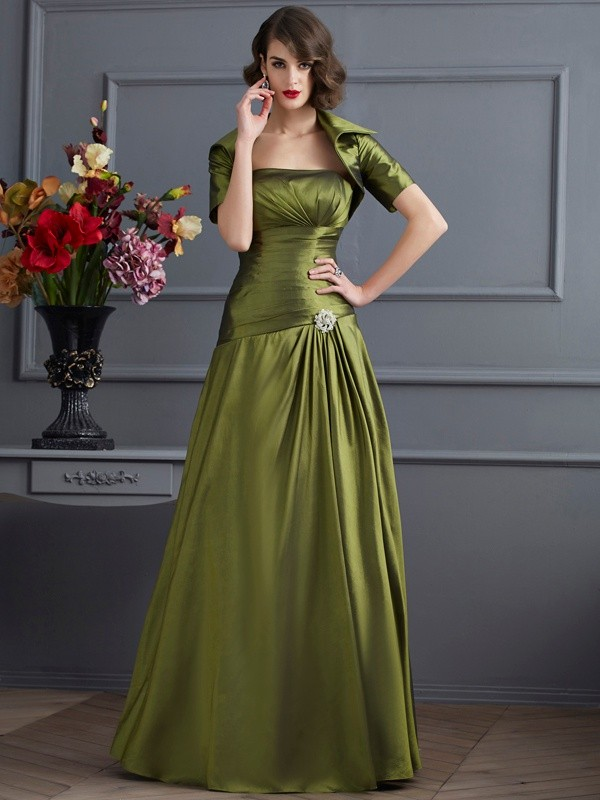 Long Green Strapless Mother of the Bride Dresses with Beading