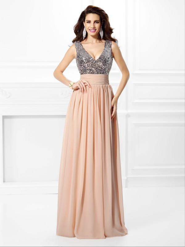 Chiffon A-Line Floor-Length V-neck Pearl Pink Prom Dresses