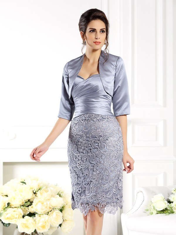 Silver Sweetheart Satin Knee-Length Mother of the Bride Dresses