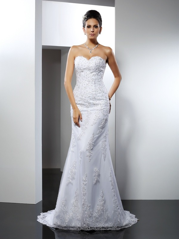 Mermaid Sweetheart Court Train White Wedding Dresses