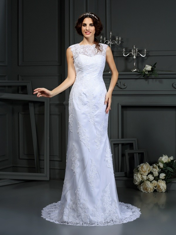 White Sheath High Neck Court Train Wedding Dresses with Lace