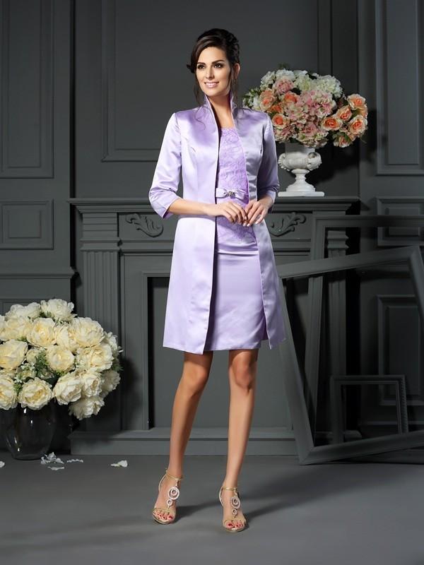 Sheath Scoop Short/Mini Lilac Mother of the Bride Dresses