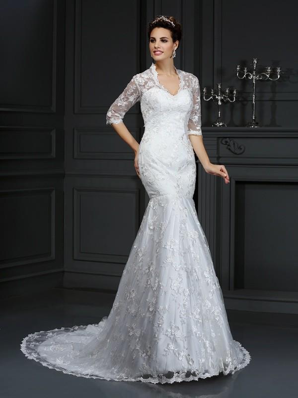 Mermaid V-neck Court Train Ivory Wedding Dresses with Lace