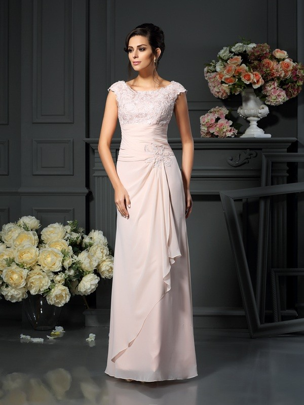 A-Line Chiffon Scoop Long Pearl Pink Mother of the Bride Dresses