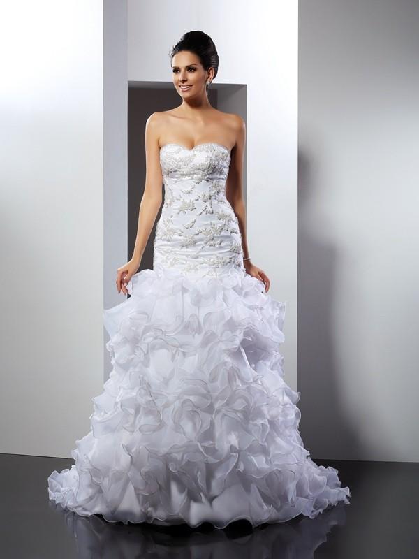 Organza Mermaid Chapel Train Sweetheart White Wedding Dresses