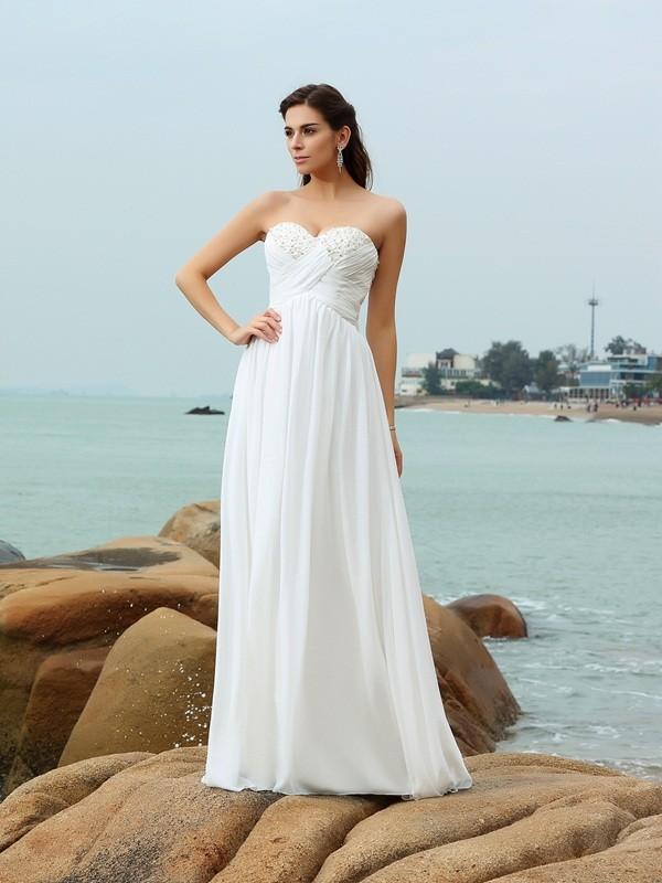 A-Line Sweetheart Brush Train Ivory Wedding Dresses
